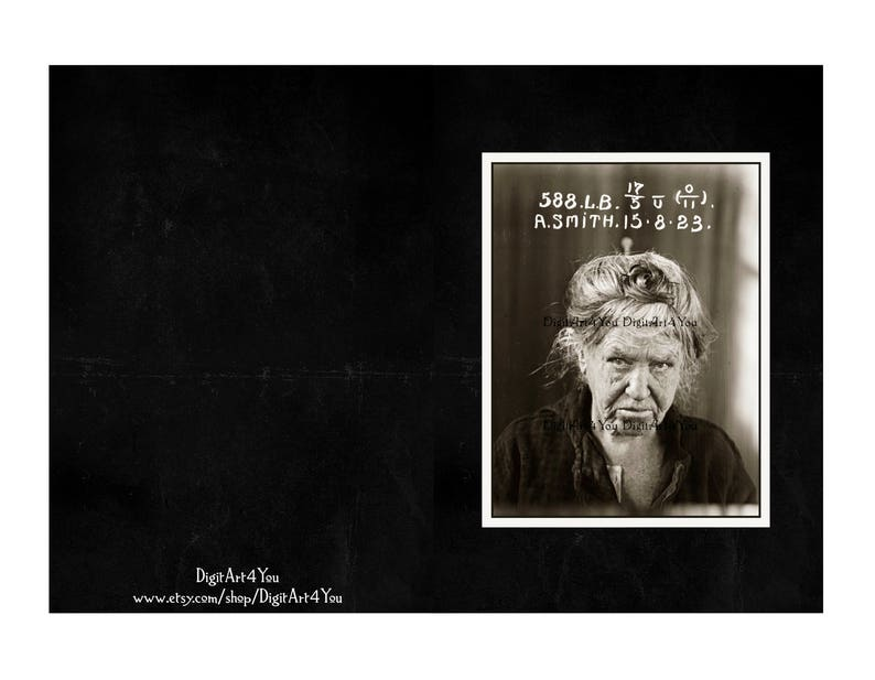 Amazing Black and White Portrait Photo Blank Card of Prisoner. Unique Unusual Old Photograph Card Digital Download of Mug Shot of Lady