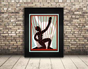 High Resolution Poster Digital Download of Vintage of Dancers. Wall Art or Home Decor for Any Occassion. For Dancers. Modern. Colorblock