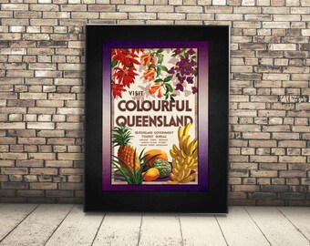 High Resolution Poster Digital Download of Vintage Travel Ad of Queensland Tasmania, Australia. Wall Art or Home Decor of Tropical Fruit.