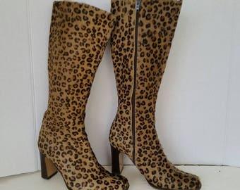 5c3e4d4320de24 Vintage Vero Cuoio Italian Boots Dyed Leopard Print Excellent condition
