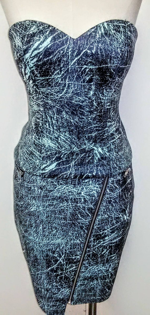 GUESS Blue & Black Bustier and Pencil Skirt