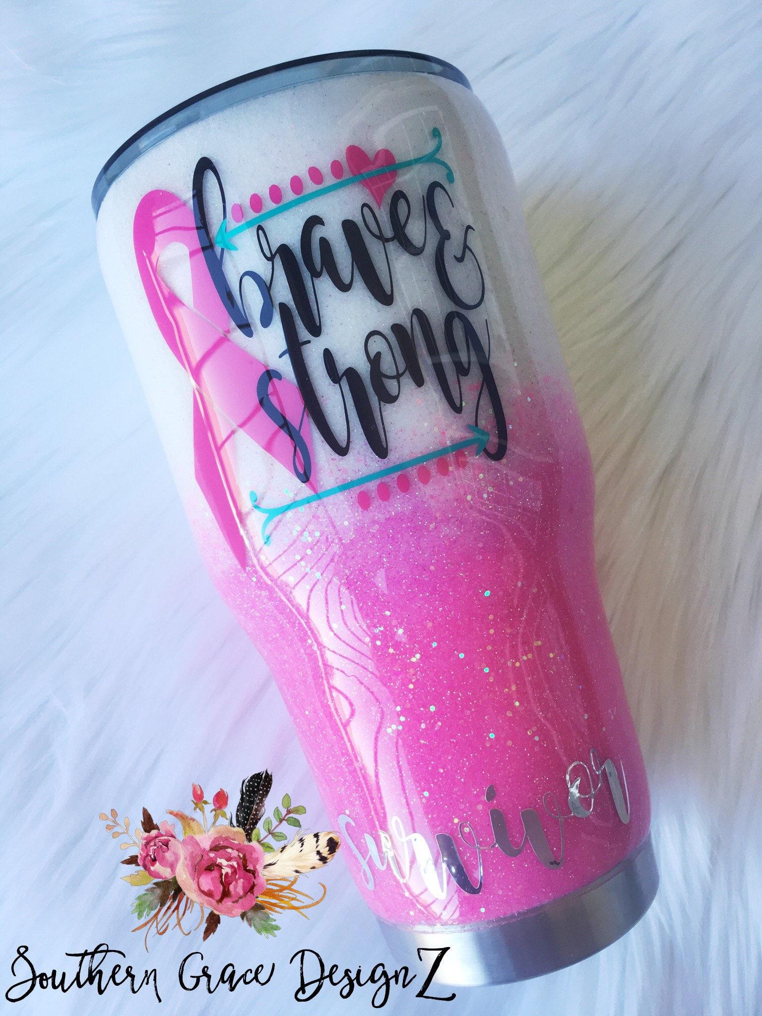 Breast Cancer Glitter Yeti/Breast Cancer Awareness/Breast   Etsy