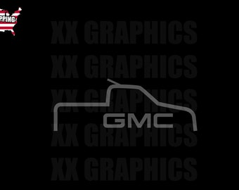 GMC TRUCK OUTLINE gmc sierra Decal Sticker Graphic denali (Choose Size    Color) 84c640b9bf98