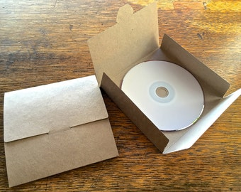 25 Recycled Kraft Card No Glue CD DVD Sleeve/Wallet/Cover Unbranded/Blank.