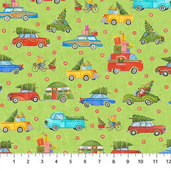 Trucks /& Trees Best tree in Lot Northcott Christmas Quilt Fabric by the 1//2 yd