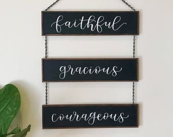 "Rustic Home Decor/Signage/Wall Decor This Three Piece Inspirational Words To Live By- [18"" x 24""]"