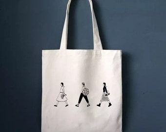 2369c062f8 Creamy White Canvas Tote Bag with Zippered - Cute Tote Bags - Unique  Pattern Tote Bag - Gift Idea for best Friend