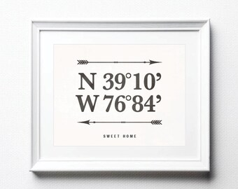 Custom Latitude Longitude Print Custom Wedding Gift GPS Coordinates Sign Personalized Address Print Housewarming Gift New Home Print