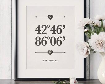 Housewarming Gift Wedding Gift Custom Coordinates Print Latitude and Longitude Print Personalized Home Location print Coordinates Poster