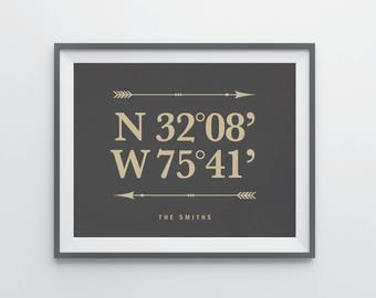 Latitude Longitude Print Latitude Longitude Housewarming Gift Personalized Wedding Gift Bridal Shower Gift Gift For Couple Foyer Wall