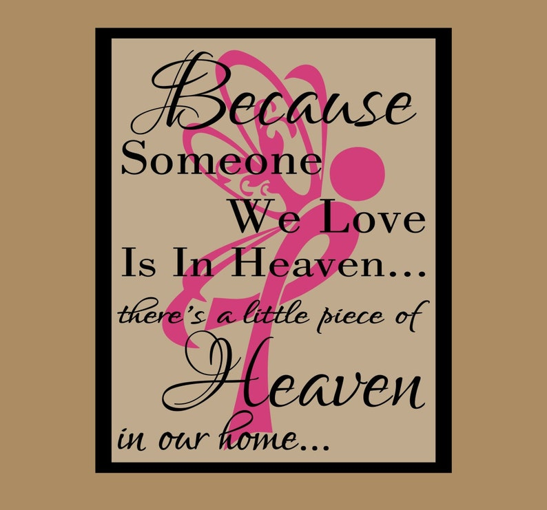 Because someone we love is in haven  With Canter Ribbon #2 Floating Glass Frame,Memorial Wall Deco 8W x 10H