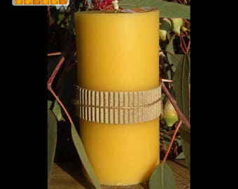 Pure Beeswax Candle - Tall, pillar candle, using natural beeswax, honey scented candle