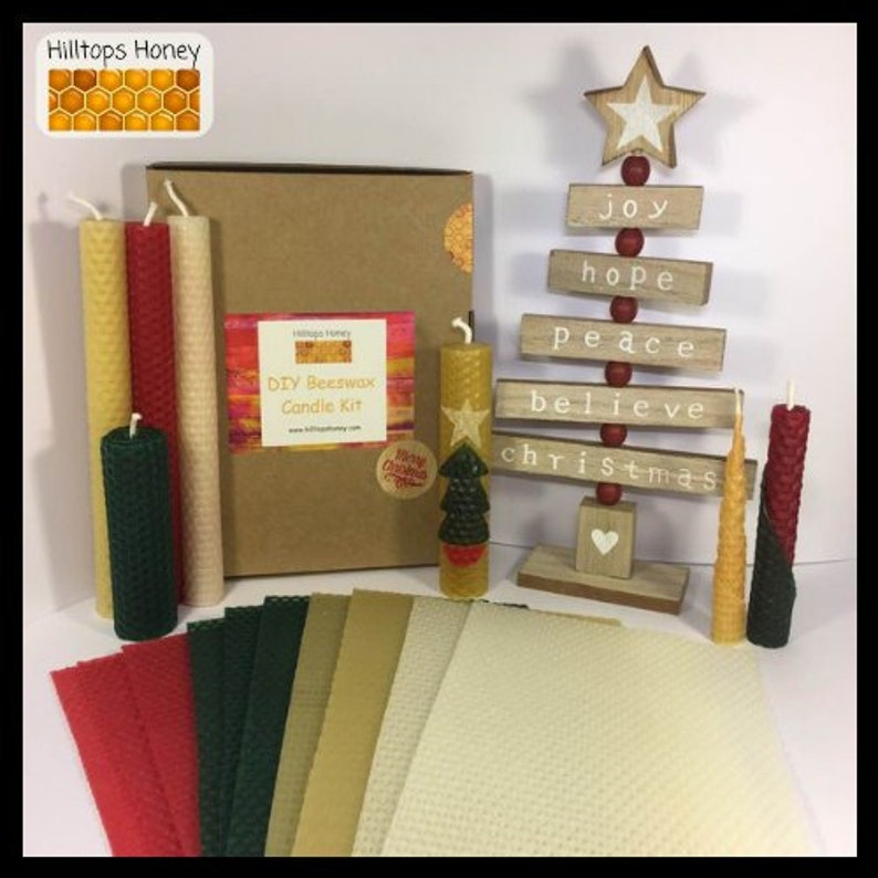 DIY Beeswax Christmas candle making kit, rolled beeswax candles