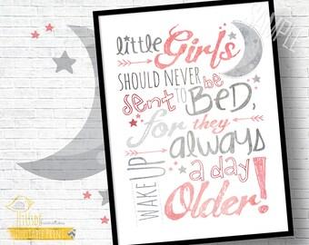 "Little Girls Nursery Quote! - 8x10"" Custom Print! - Peter Pan, Inspirational Quote, Pink, Gray, Nursery, Room Decor, Baby Gift"