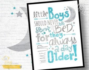 "Little Boys Nursery Quote! - 11x14"" Custom Print! - Peter Pan, Inspirational Quote, Blue, Gray, Nursery, Room Decor, Baby Gift"