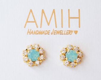 Green opal Swarovski flower earrings cluster bridal jewelry wedding jewelry bridesmaid earrings gift for her party jewelry wedding earrings