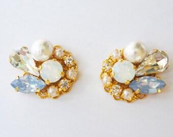 White opal Swarovski cluster earrings blue stone bridal earrings opal earrings cotton pearl earrings wedding earrings bridesmaid earrings