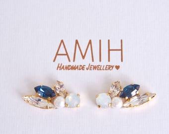Blue & white opal Swarovski ear cuff ear climber wedding jewelry bridal jewelry bridesmaid earrings wedding pearl cluster swarovski