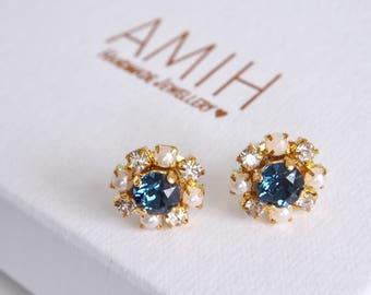 Blue Swarovski crystal cluster earrings flower bridal jewelry wedding jewelry bridesmaid earrings gift for her pearl earrings bridesmaids