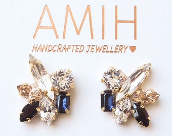 Mr. sharpy Blue and black Swarovski crystal cluster earrings flower bridal jewelry wedding jewelry bridesmaid earrings gift for her