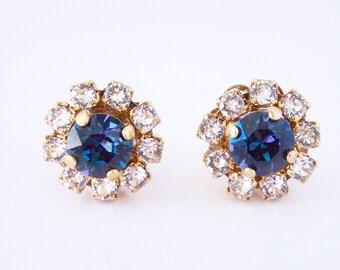 Blue Swarovski crystal cluster earrings flower bridal jewelry wedding jewelry bridesmaid earrings gift for her