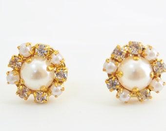 Pearl crystal flower earrings flower bridal jewelry wedding jewelry bridesmaid earrings gift for her wedding pearl