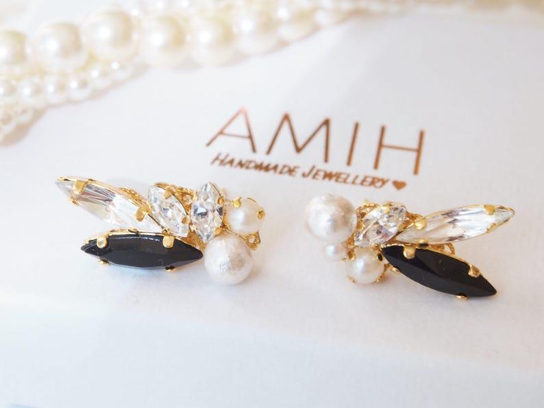 603bb951ef79b Black & crystal Swarovski ear cuff ear climber wedding jewelry bridal  jewelry bridesmaid earrings wedding pearl cluster white pearl swarovsk