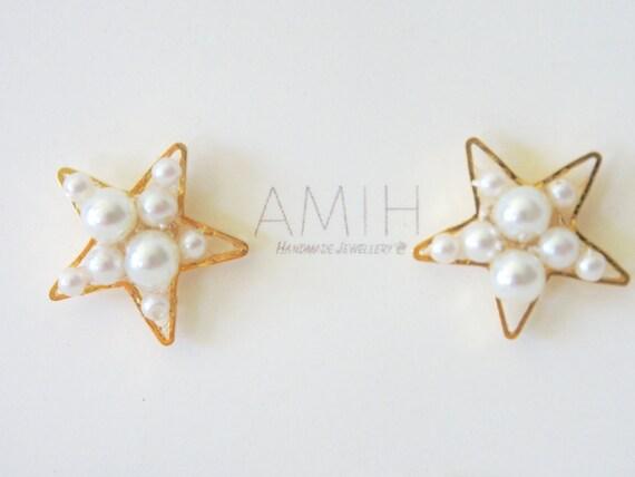 Sterne Reifen gruppierten Perlen Ohrringe Sterne Draht | Etsy