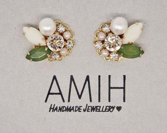 Green & white crystal eith silk swarovski  cluster earrings bridal earrings bridesmaid earrings cotton pearl earrings wedding jewellery