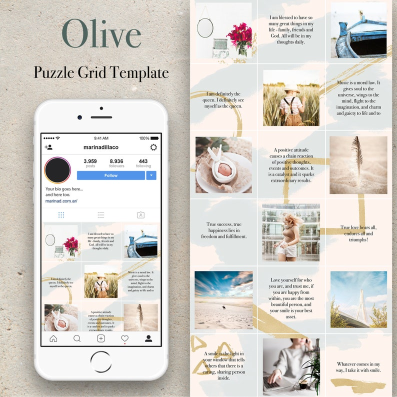Instagram puzzle template. Instagram template. Canva template. image 0