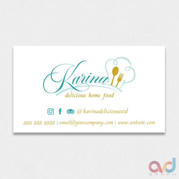 Kitchen Business Design Custom Business Card Utensils Etsy
