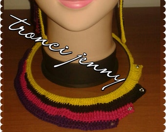 Necklace and Crochet Earrings