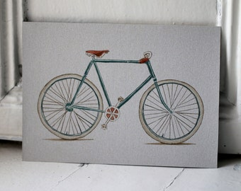 Original vintage green bike illustration hand painted with ink and copper paint on recycled cardboard upcycled wall art bicycle cyclist gift