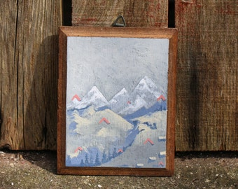 Original landscape oil painting on upcycled wooden frame snow capped hills neutral colour tones in grey pink yellow blue small wooden frame