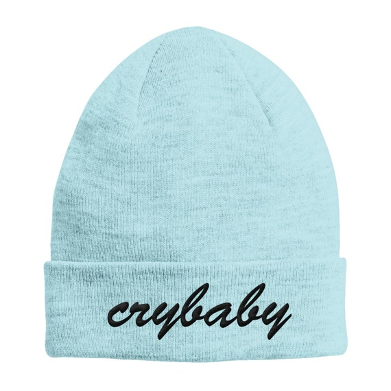 Crybaby SKY BLUE Beanie Hat Black Text STPH22  b57ac6b6749