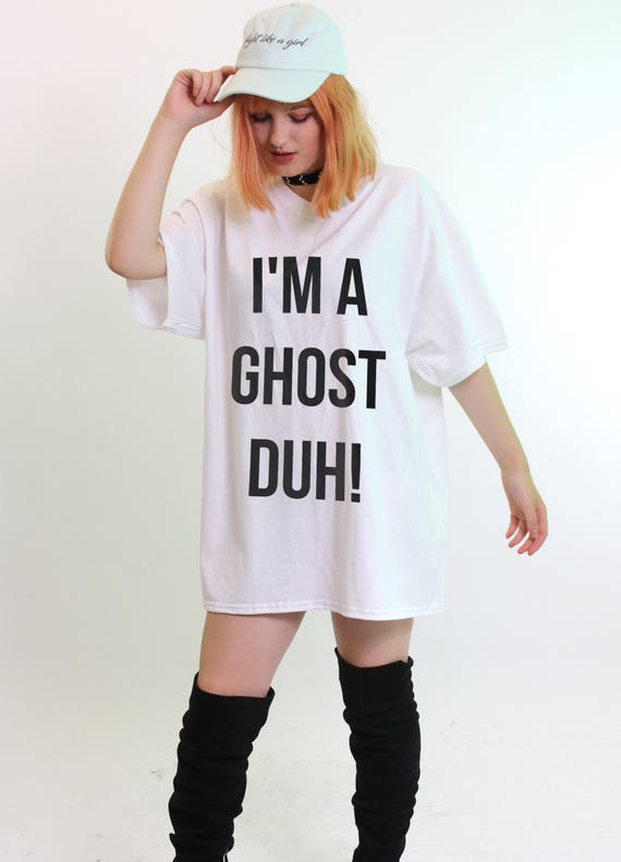 strong packing online for sale 100% satisfaction I'm A Ghost Duh Oversized T-Shirt, Halloween Costume Women Girl Cute Dress  Fancy White Baggy Top Fashion Adult Tshirt Tee STP751