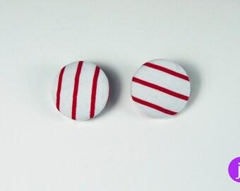 """2x Button mit Broschenverschluss """"Rot-Weiß"""""""