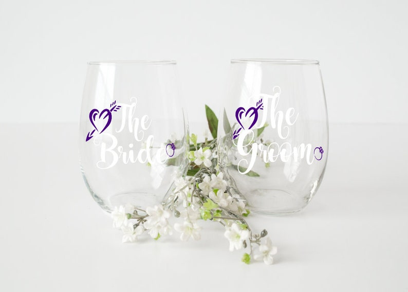 Vinyl Decal Wedding Decal Bridal Party Gift Bride Decal Bridal Party Decals The grom gifts Wine Glass Decal The bride