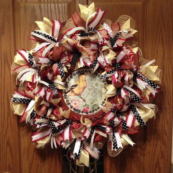 Elegant Wreath Fancy Bird Wreath Year Round Wreath Burlap Wreath
