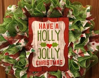 Christmas Wreath, Holly Jolly Wreath, Festive Wreath, Merry Christmas Wreath