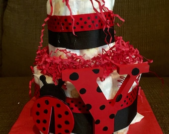 Ladybug Diaper Cake, Diaper Cake, Baby Shower Centerpiece