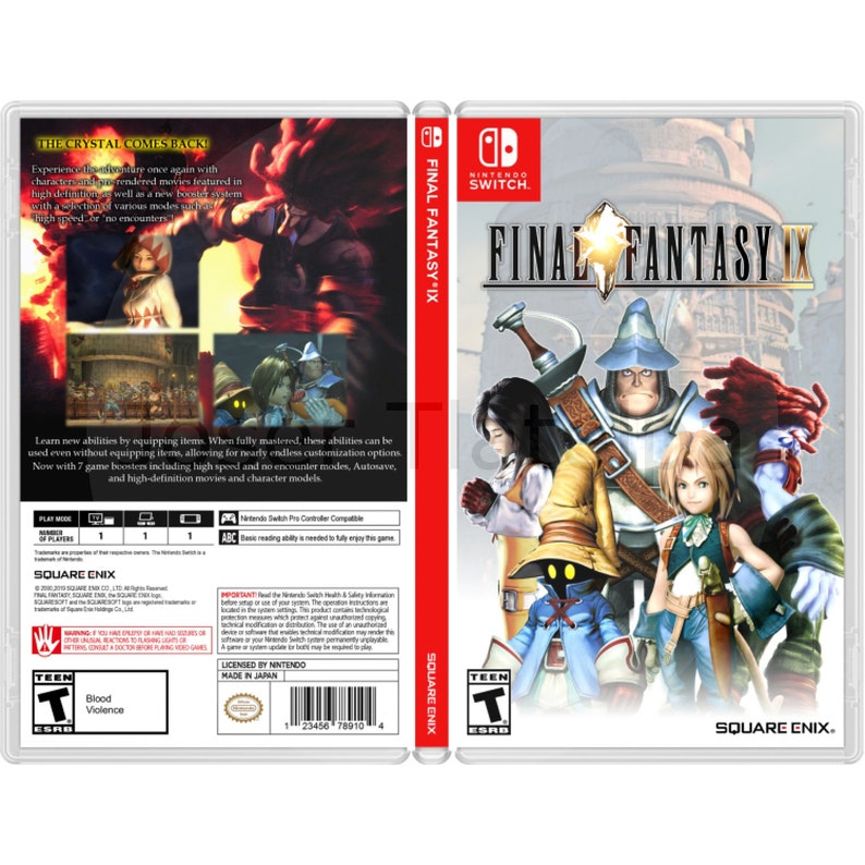 Final Fantasy 9: Custom Game Case For the Nintendo Switch (NO GAME INCLUDED)