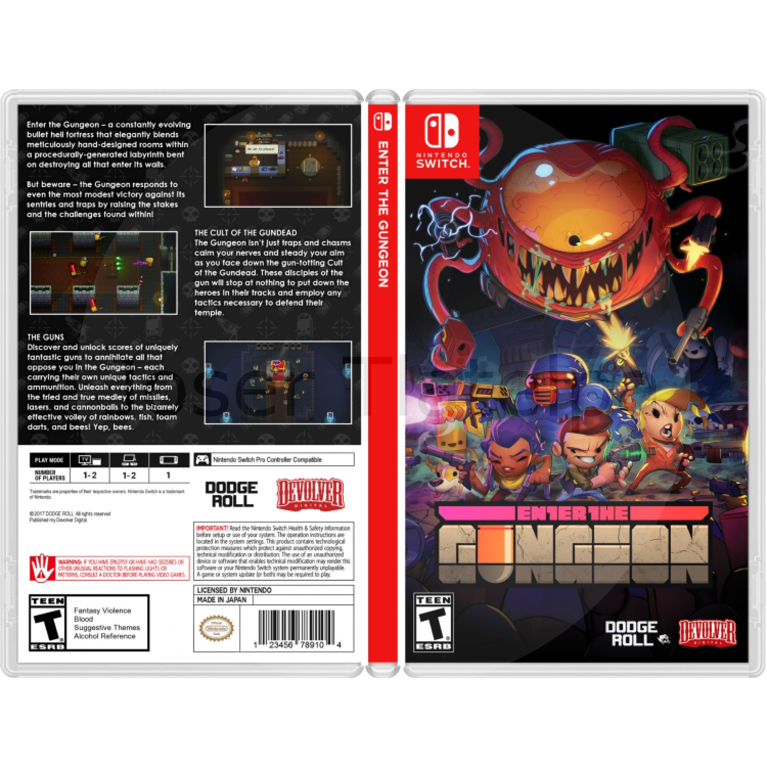 Enter the Gungeon: Custom Game Case For the Nintendo Switch (NO GAME  INCLUDED)