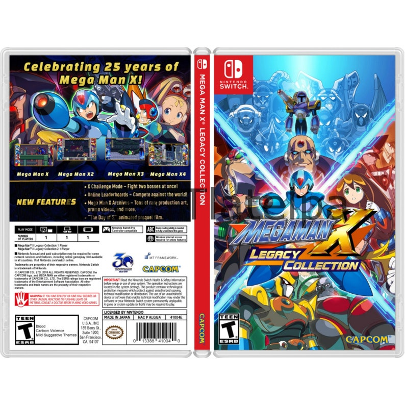 Mega Man X Legacy Collection 1 & 2: Replacement Game Case For the Nintendo  Switch (NO GAME INCLUDED)