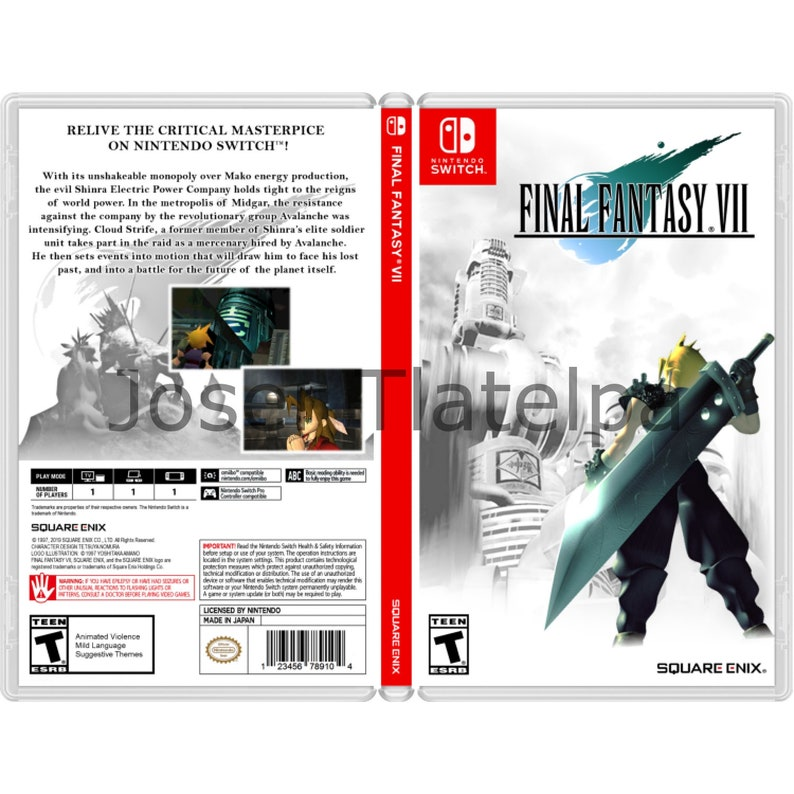 Ff7 Karte.Final Fantasy 7 Custom Game Case For The Nintendo Switch No Game Included