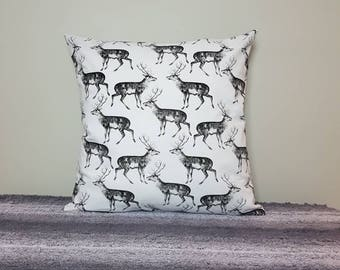 black deer cushion cover 45x45cm. *cover only, cushion pad not included* deer pillow, stag cushion, stag pillow deer print, stag print