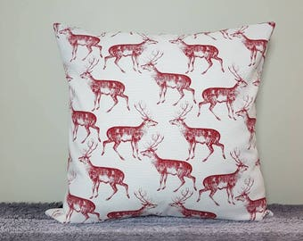 """Red deer cushion cover 18"""" (45x45cm). *cover only, cushion pad not included* deer pillow, stag cushion, stag pillow"""