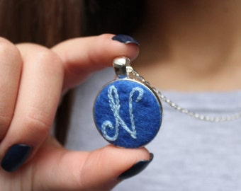 Embroidered Initial necklace, Colorful Initial Pendant, Custom Initial for Her, Personalized jewelry, Teen Girl Jewelry, Bridesmaids jewelry