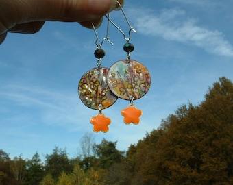 Enamel charm earrings and swarovski pearls