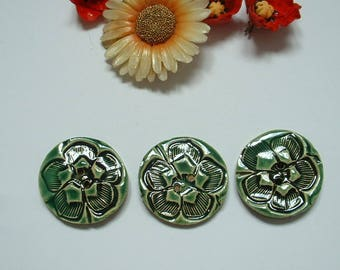 Flower 3 cm ceramic buttons
